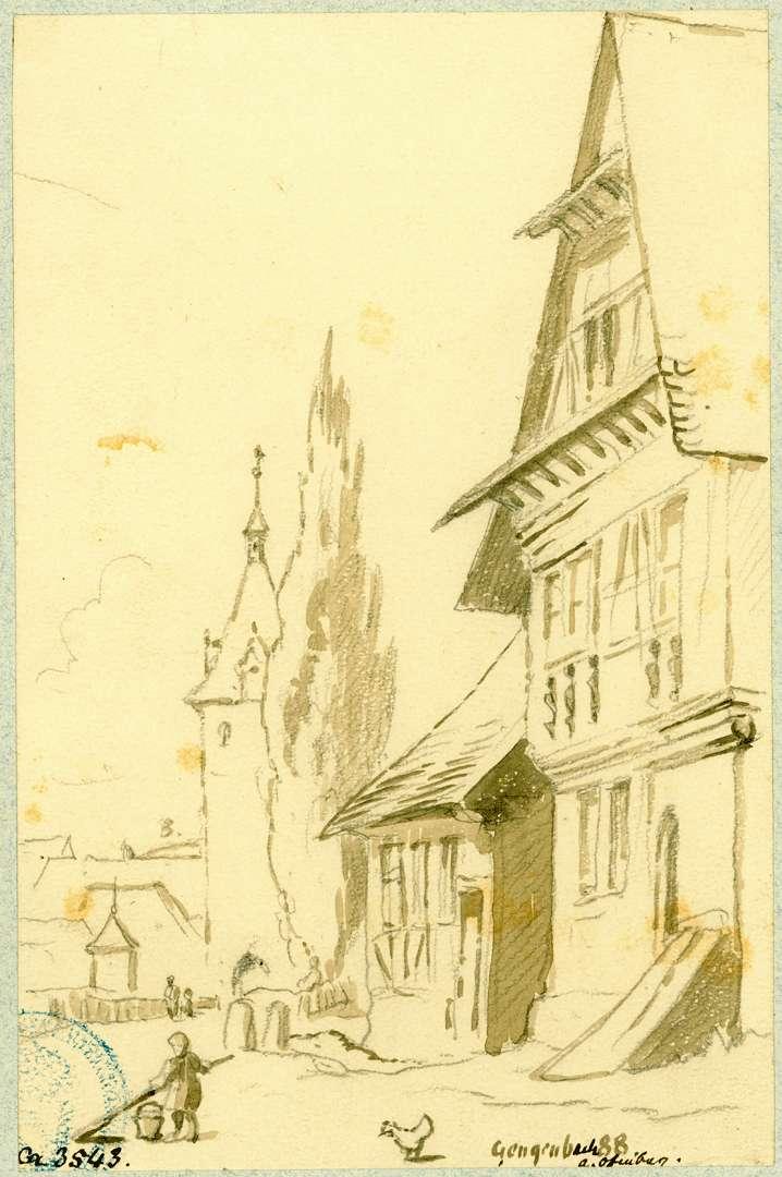 Gengenbach Blick bei den Brückenhäusern auf den Kinzigtorturm, Bild 1