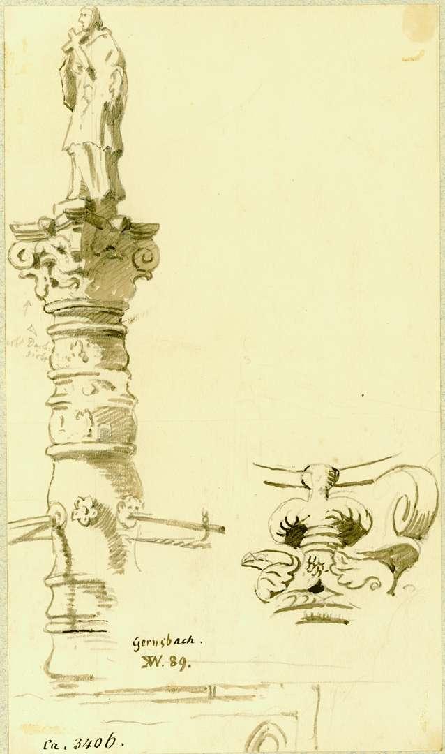 Gernsbach Säule Stadtbrunnen mit Heiligem Nepomuk, seitliche Ansicht, Bild 1