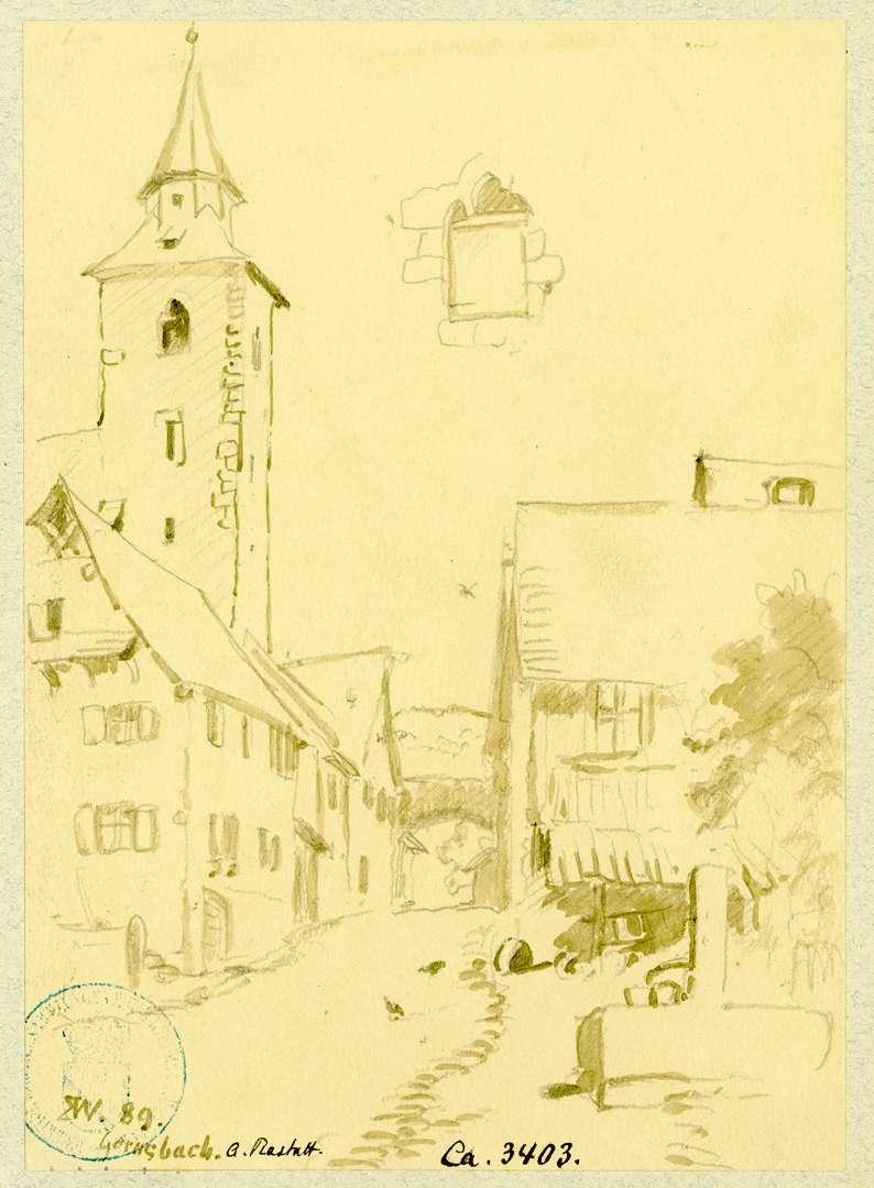 Gernsbach Straßenzug überragt vom Turm der Liebfrauenkirche, Bild 1