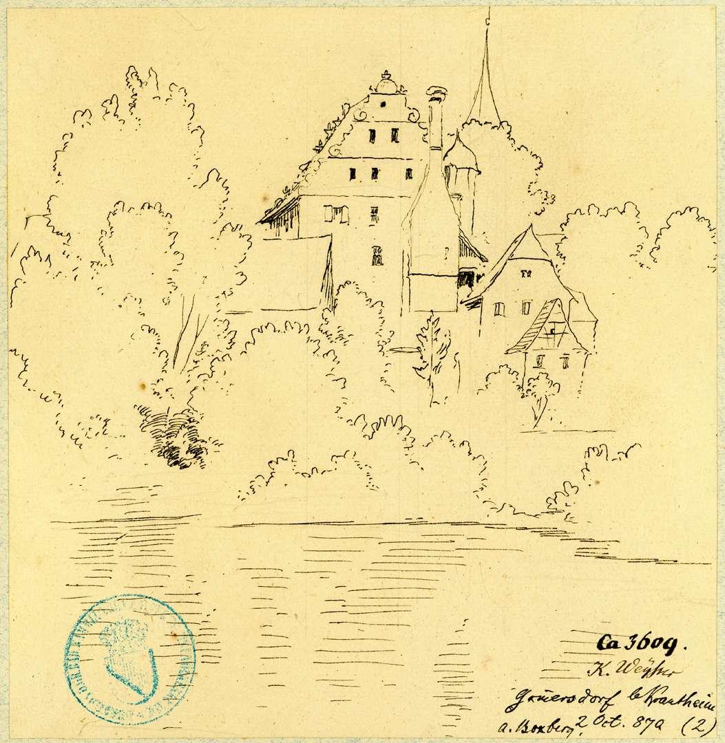 Gommersdorf Blick über die Jagst auf Schloss und Kirchturm, Bild 1
