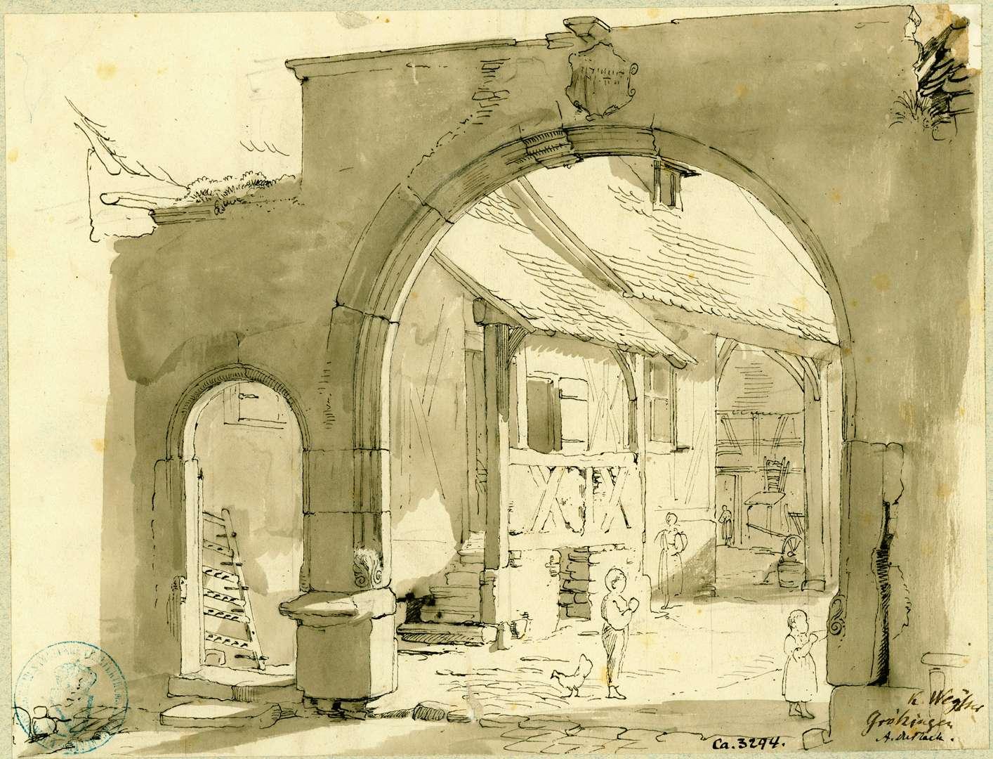 Grötzingen Torbogen mit Blick in einen Innenhof, Bild 1