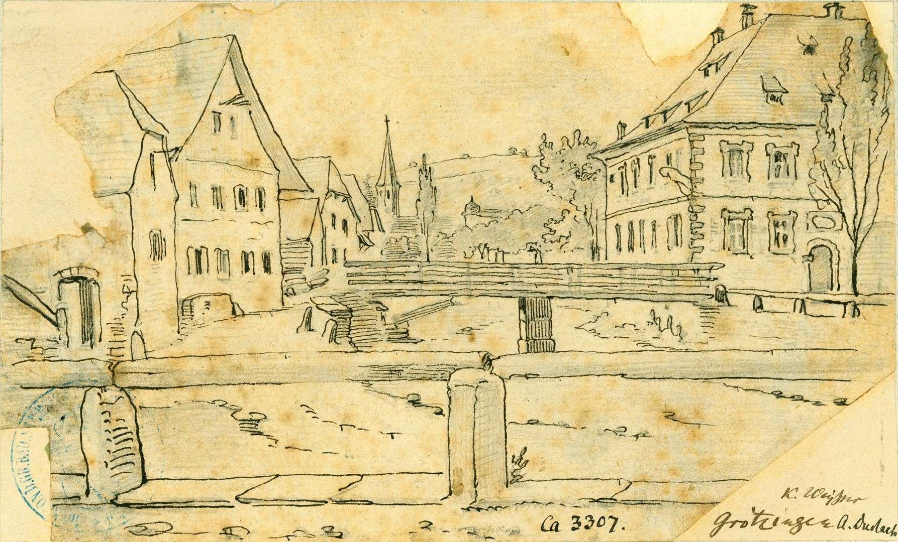 Grötzingen Blick entlang der Pfinz auf eine Balkenbrücke und Gasthaus zur Krone, Bild 1