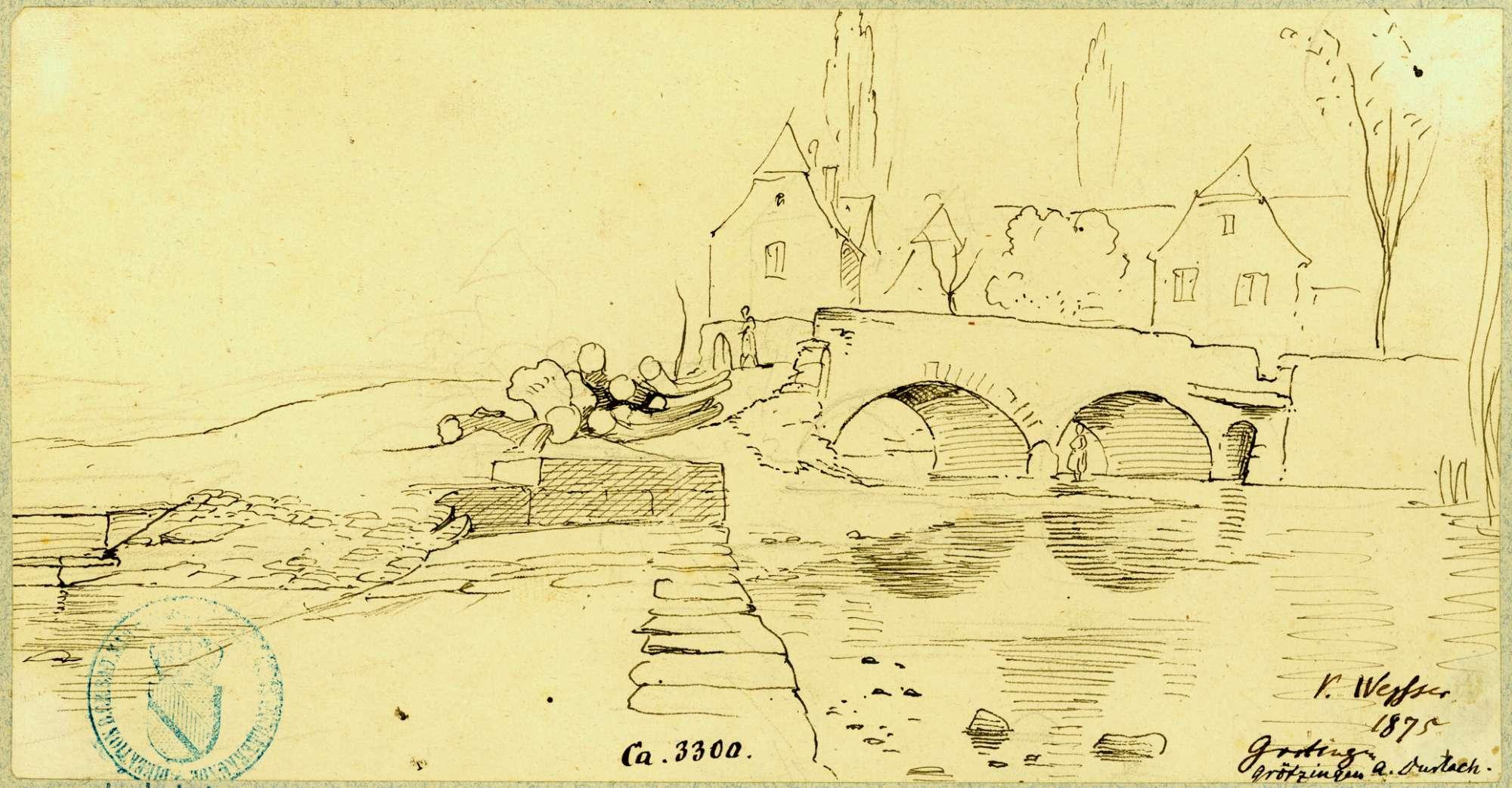 Grötzingen Bogenbrücke über die Pfinz, Bild 1
