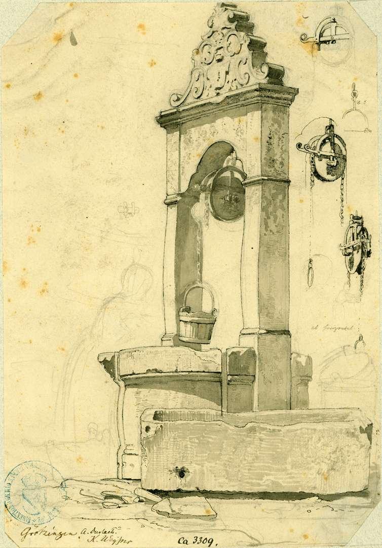 Grötzingen Ziehbrunnen mit rundem profilierten Steintrog, Bild 1