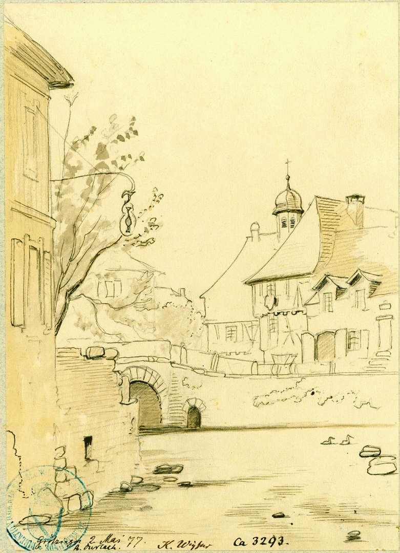 Grötzingen Blick über die Pfinz auf das Rathaus, Bild 1