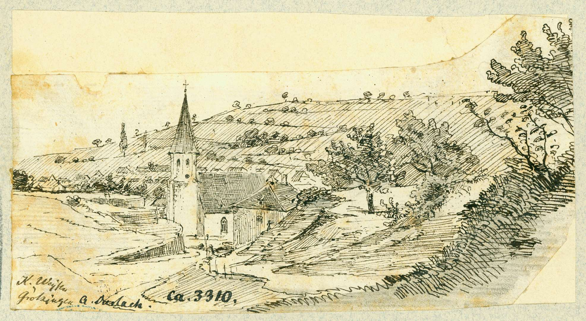Grötzingen Landschaft mit Pfarrkirche von Süden, Bild 1
