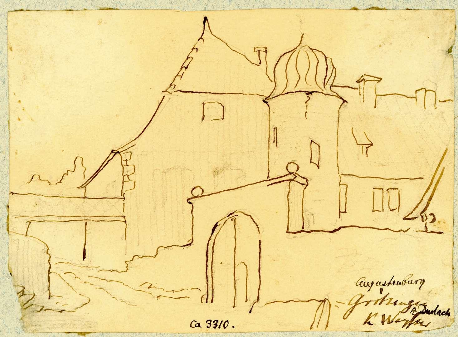 Grötzingen Augustenburg, Ostseite von Südosten gesehen, Bild 1