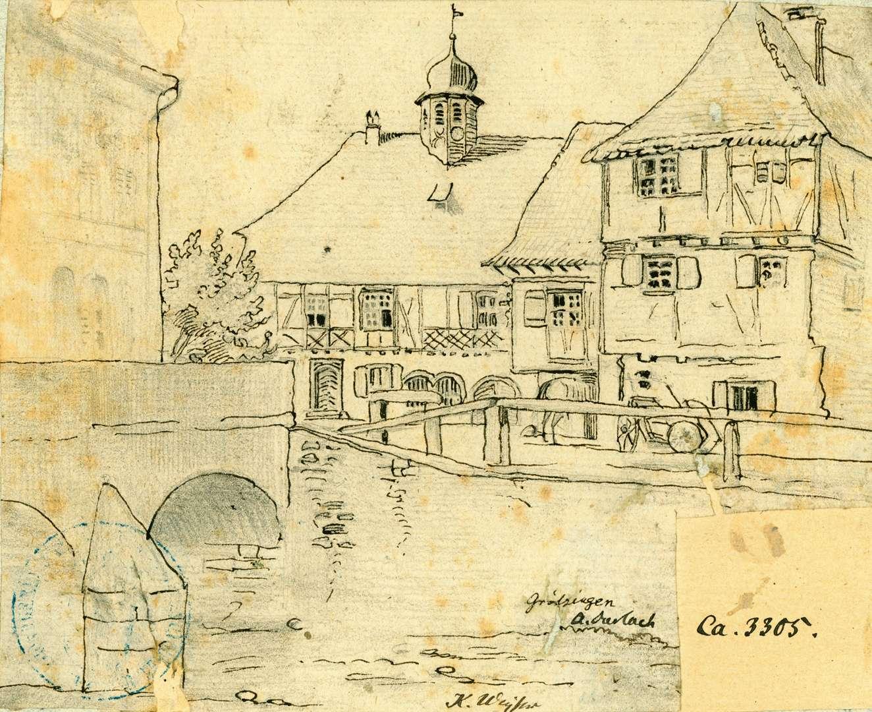 Grötzingen Blick über die Pfinz auf Rathaus, Bild 1