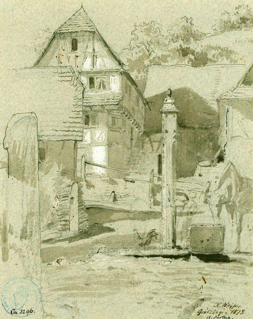 Grötzingen Fachwerkhäuser mit Wasserpumpe im Vordergrund, Bild 1