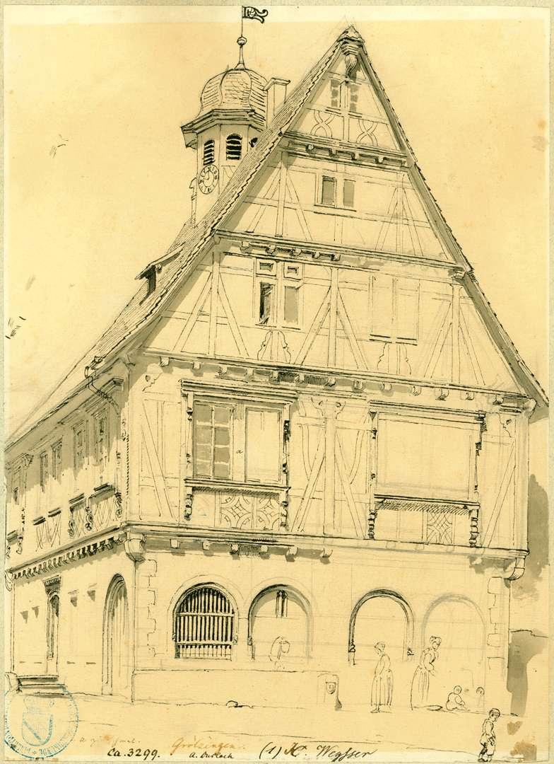 Grötzingen Ansicht östliche Giebelfront Rathaus, Bild 1