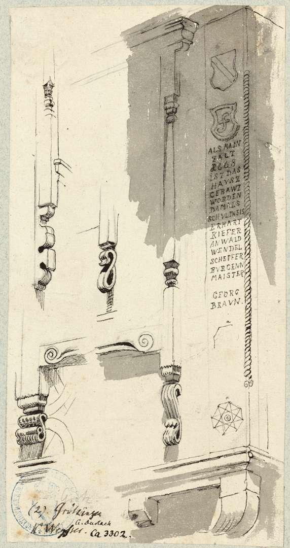 Grötzingen Detailzeichnungen Fensterrahmen auf der Südseite an der Ecke zur östlichen Giebelseite des Rathauses, Bild 1