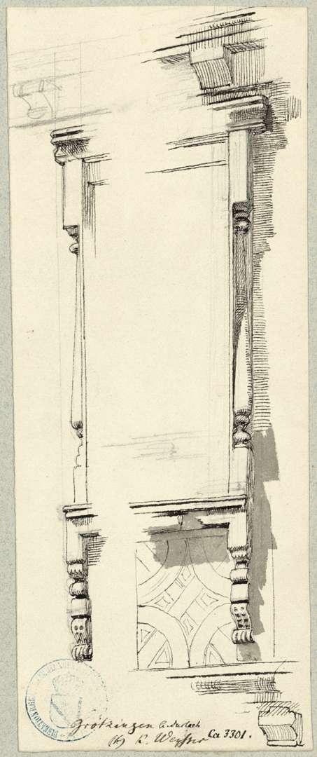 Grötzingen Geschnitzte Fensterrahmung östliche Giebelseite Rathaus, Bild 1