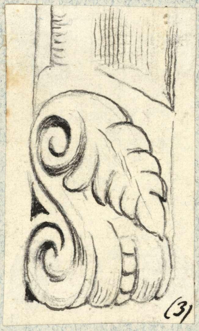 Grötzingen Detailzeichnung geschnitzte Blattschleifen, Bild 1