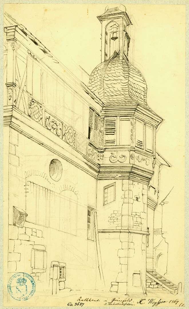 Grünsfeld Südseite Rathaus mit Treppenturm, Bild 1