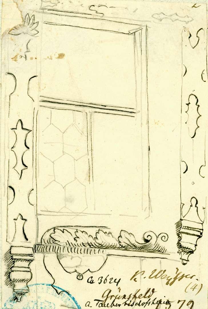 Grünsfeld Geschnitzter Fensterrahmen Obergeschoss Rathaus, Bild 1