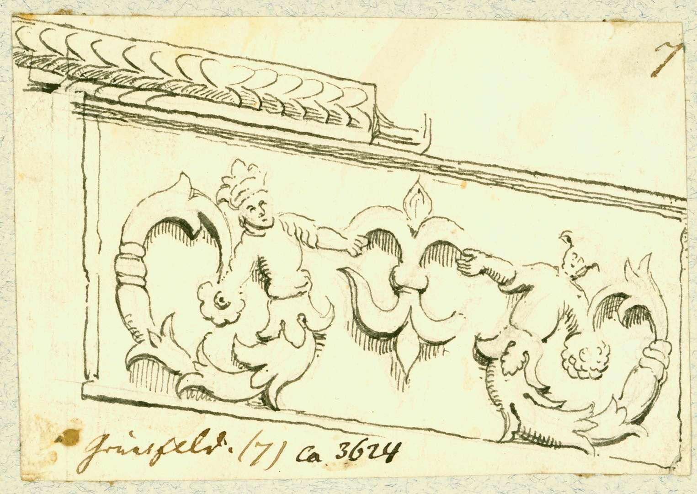 Grünsfeld Zwei geschwänzte Figuren ein Wappen haltend, Bild 1