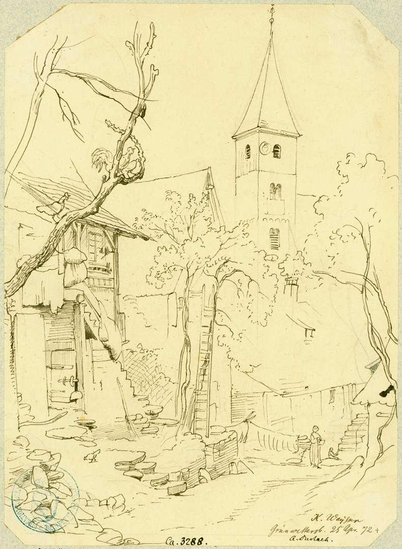 Grünwettersbach Dorfstraße mit Blick auf den Turm der Pfarrkirche von Südwesten, Bild 1