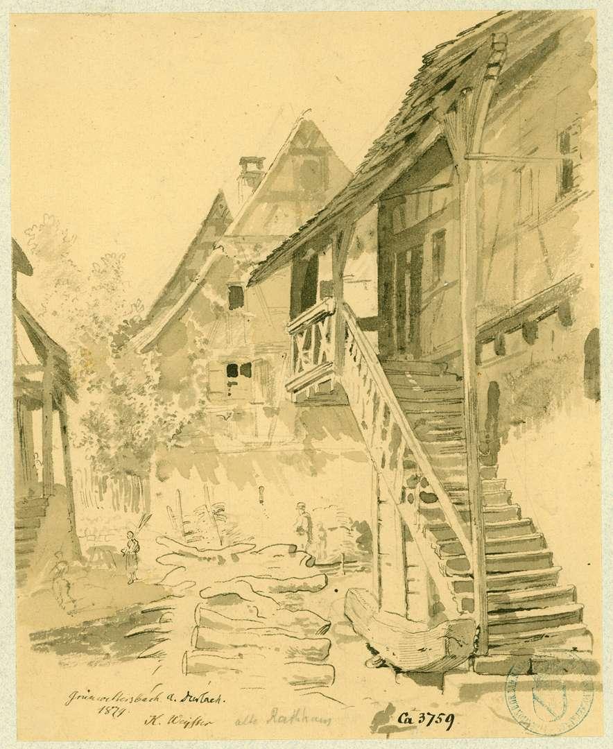 Grünwettersbach Partie am alten Rathaus, Bild 1