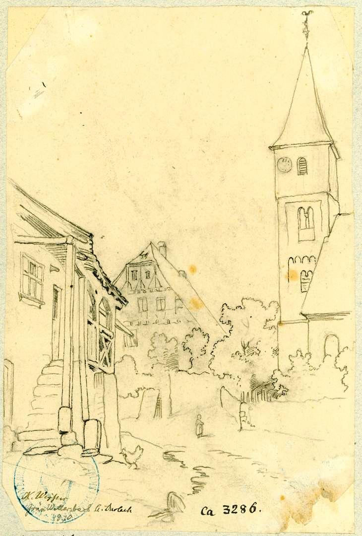 Grünwettersbach Dorfstraße mit evangelischer Pfarrkirche, Bild 1