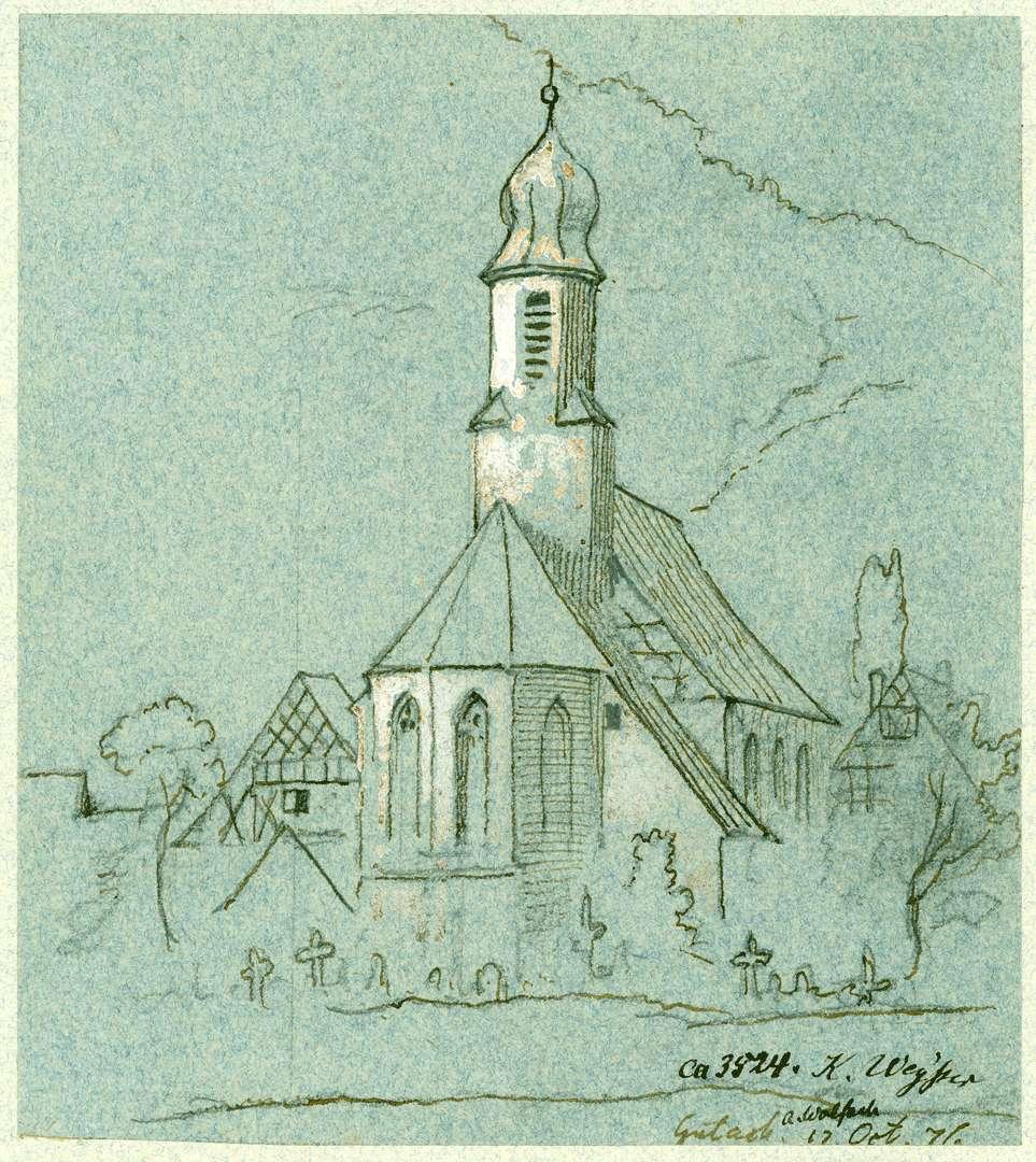 Gutach Choransicht Dorfkirche mit Friedhof, Bild 1