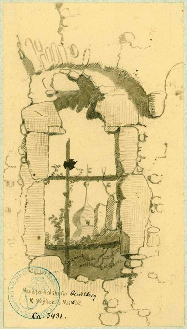 Handschuhsheim Mauerdurchbruch mit Blick auf den Turm des Handschuhsheimer Schlösschens, Bild 1
