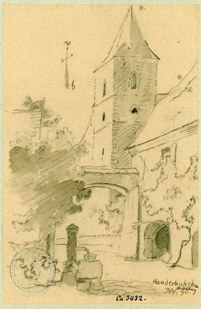 Handschuhsheim Blick aus einem Innenhof auf den Turm der Pfarrkirche, Bild 1