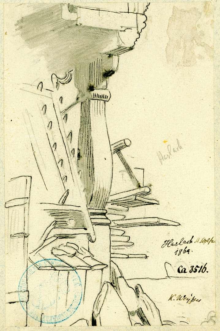 Haslach Stützpfosten eines Vorbaus, Bild 1