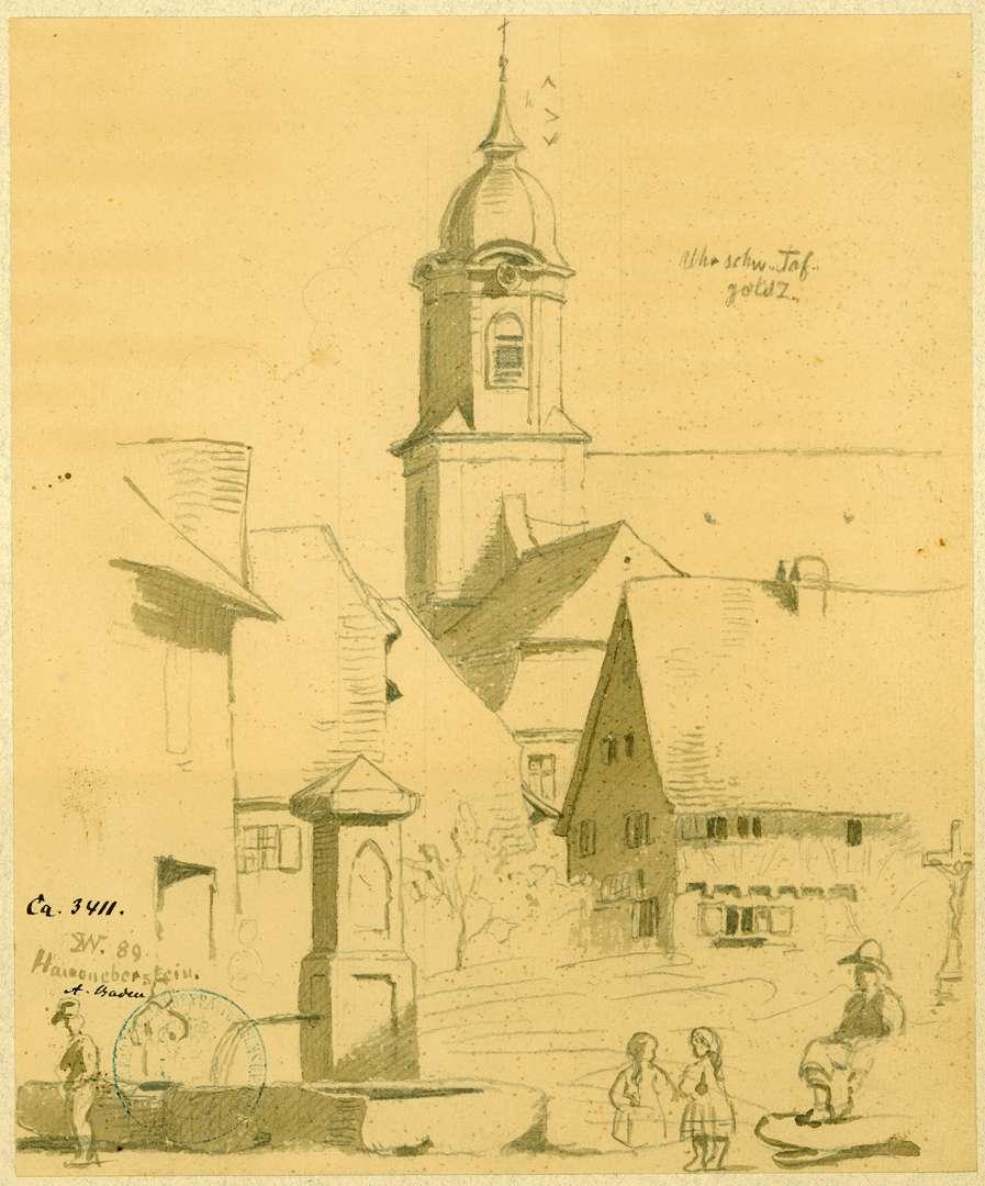 Haueneberstein Marktbrunnen mit Blick auf Pfarrkirche, Bild 1