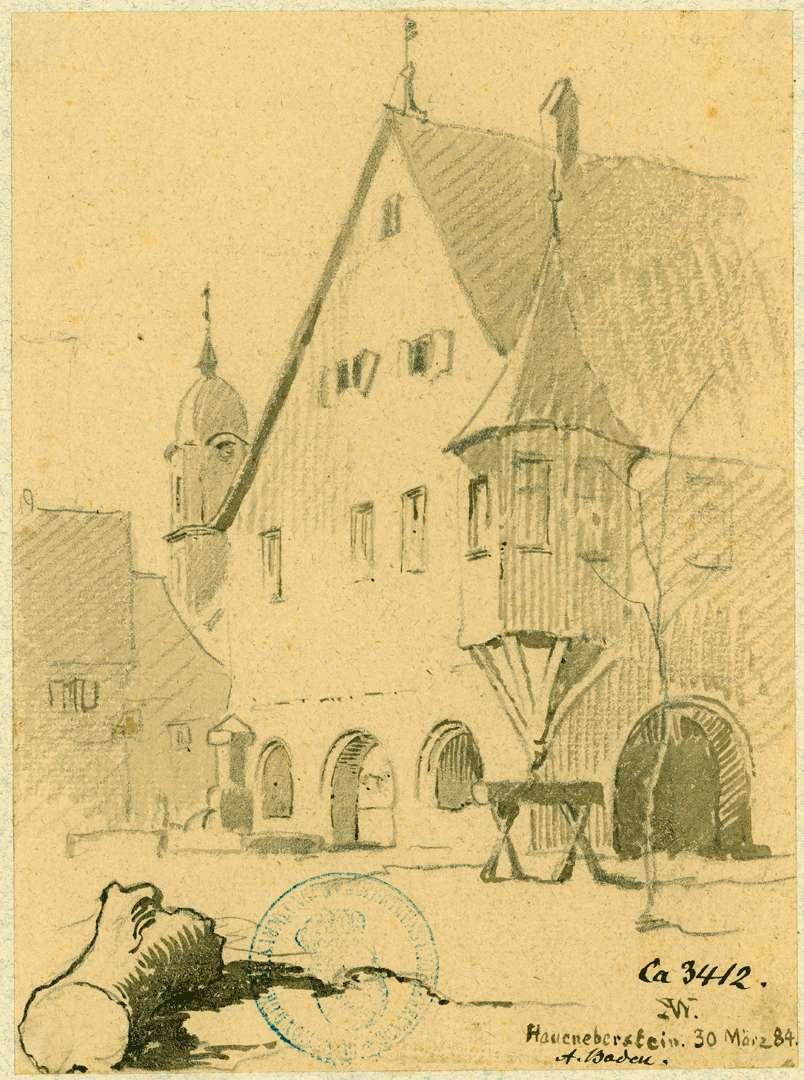 Haueneberstein Marktplatz mit Blick auf Rathaus, Bild 1