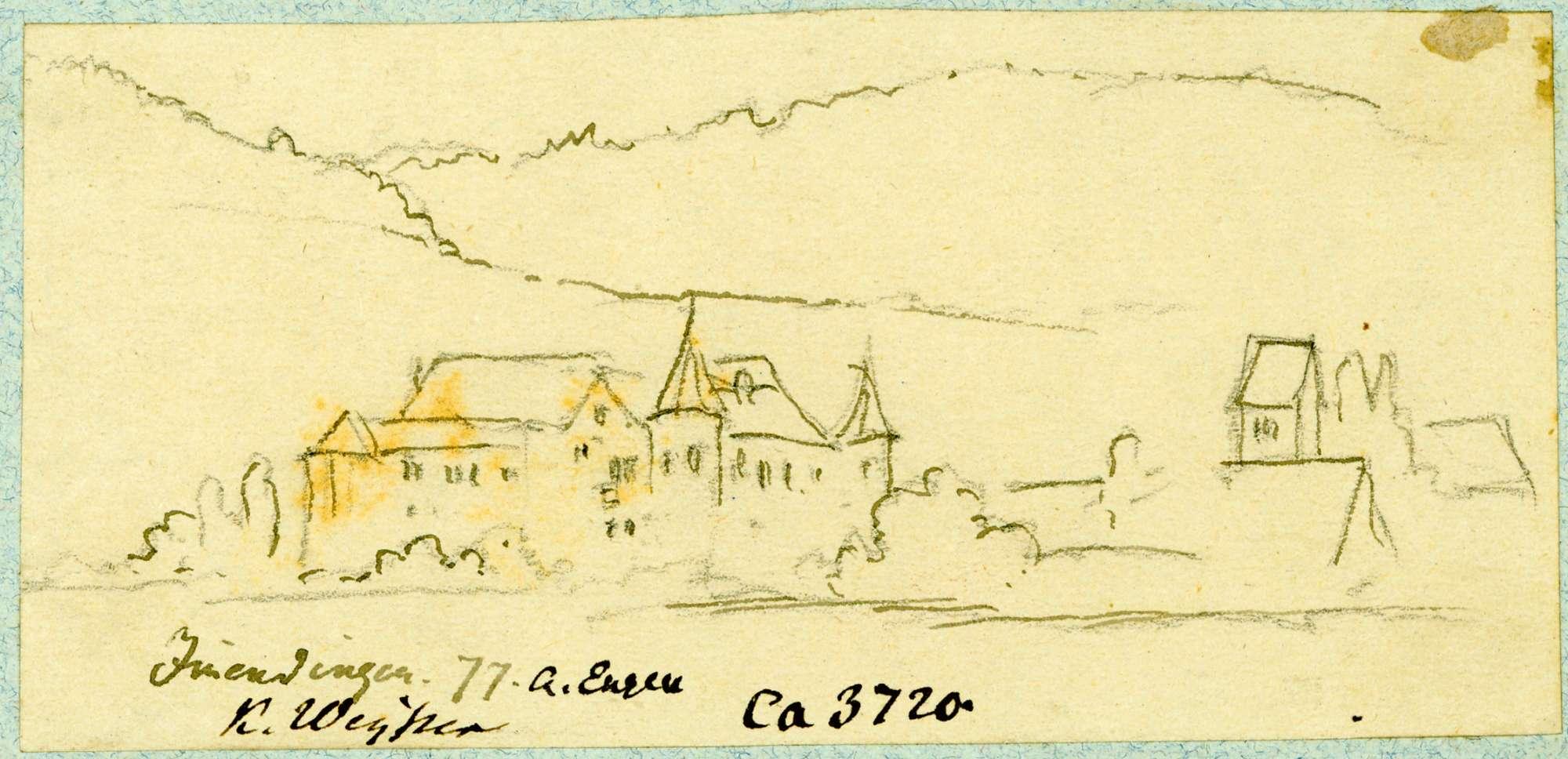 Immendingen Blick auf das Obere Schloss und Turm der Pfarrkirche, Bild 1