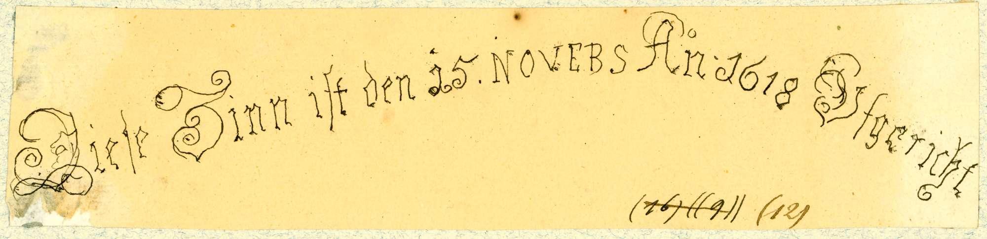 """Krautheim Inschrift """"Diese Zinn ist den 15. NOVEBS AN 1618 Ufgericht"""", Bild 1"""
