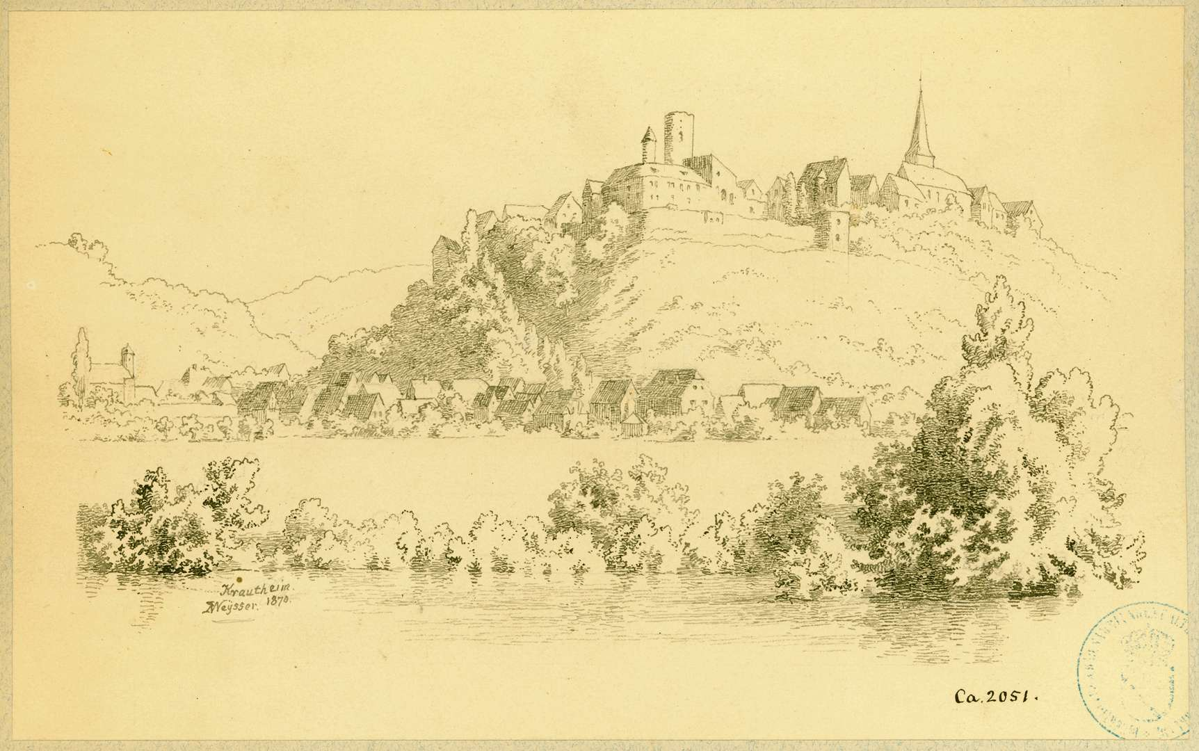 Krautheim Blick über die Jagst auf Stadt und Burg, Bild 1