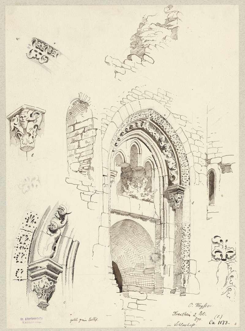 Krautheim Portal Palas und Kapelle, dazu einige Architektendetails, Bild 1