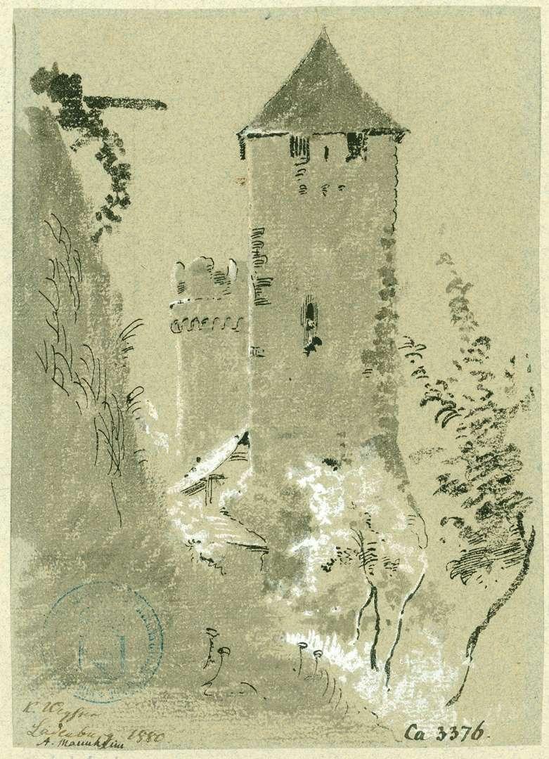 Ladenburg Seitliche Ansicht Martinstor mit Hexenturm im Hintergrund, Bild 1