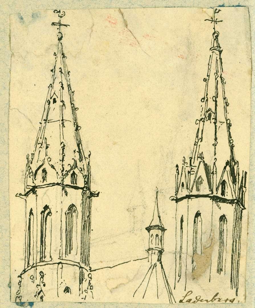Ladenburg Turmpaar St. Galluskirche von Osten, Bild 1