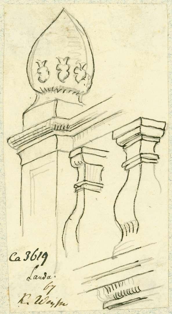 Lauda Detail Balustrade mit Pinienzapfen würzburgische Kellerei, Bild 1