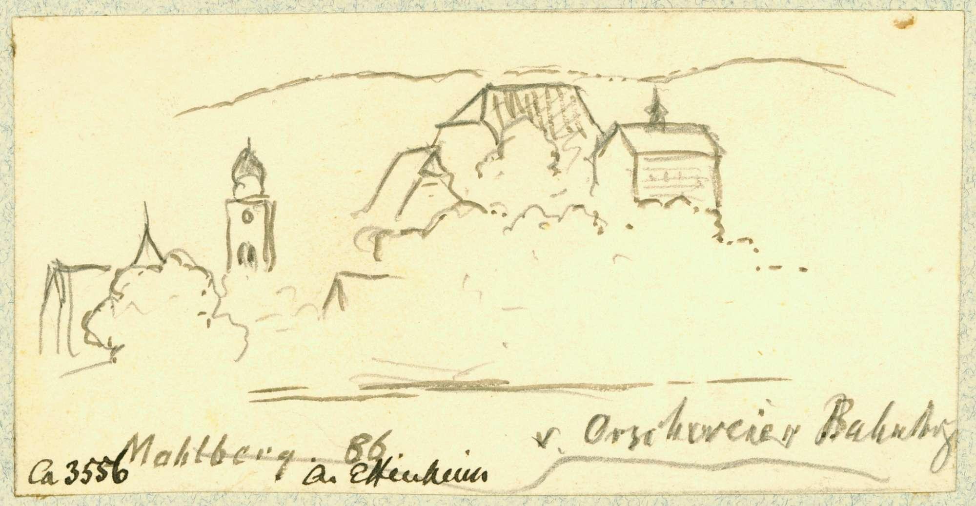 Mahlberg Blick aus Richtung Orschweier auf Schloss und katholische Pfarrkirche, Bild 1