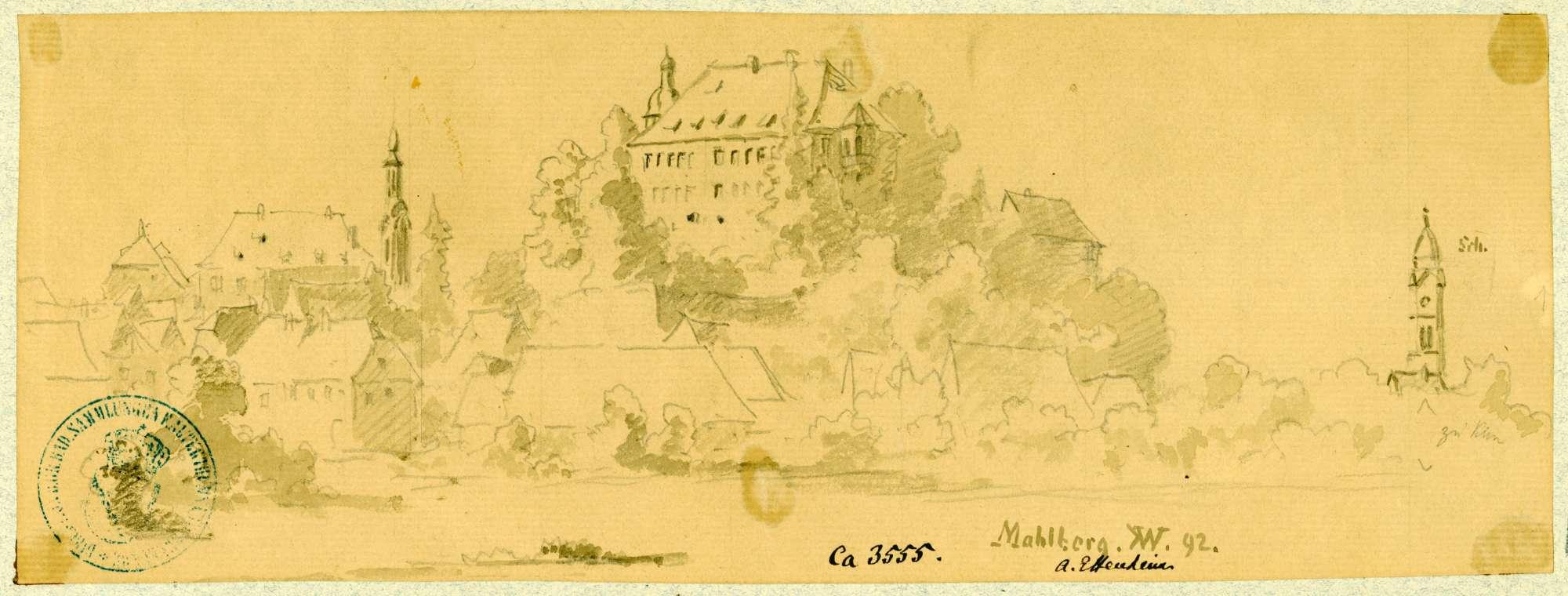 Mahlberg Blick auf Ort und Schloss aus nordöstlicher Richtung, Bild 1