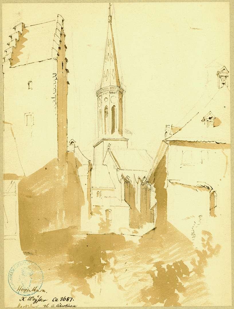 Markdorf Blick auf Hexenturm, Rathaus und gotische Stadtpfarrkirche, Bild 1