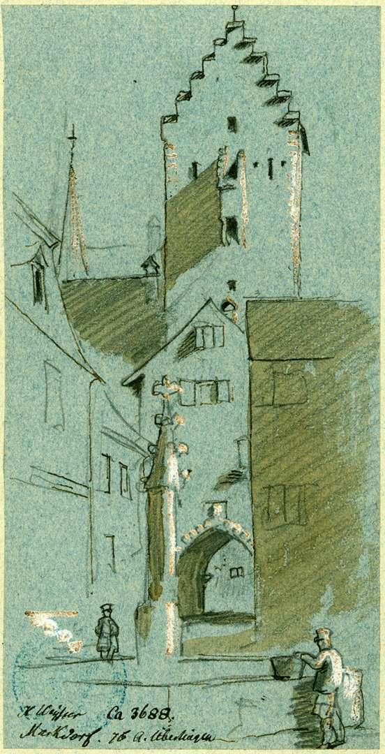 Markdorf Untertorturm mit Vortor vom Brunnenplatz aus gesehen, Bild 1