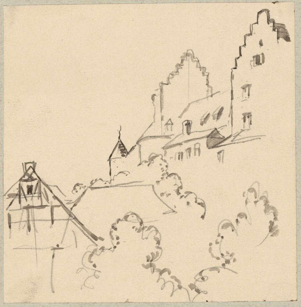 Meersburg Blick über Dächer auf Altes Schloss, Bild 1