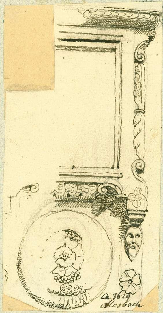 Mosbach Halber Fensterrahmen mit Rosette Südseite Palm