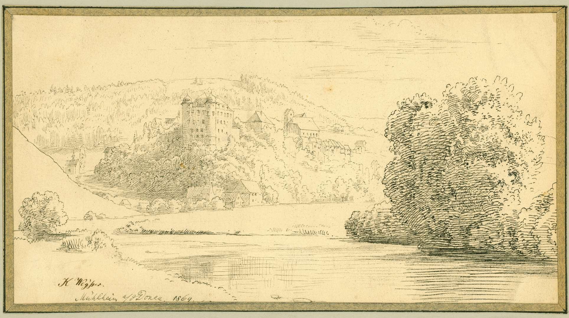 Mühlheim Blick über die Donau auf das Schloss, Bild 1