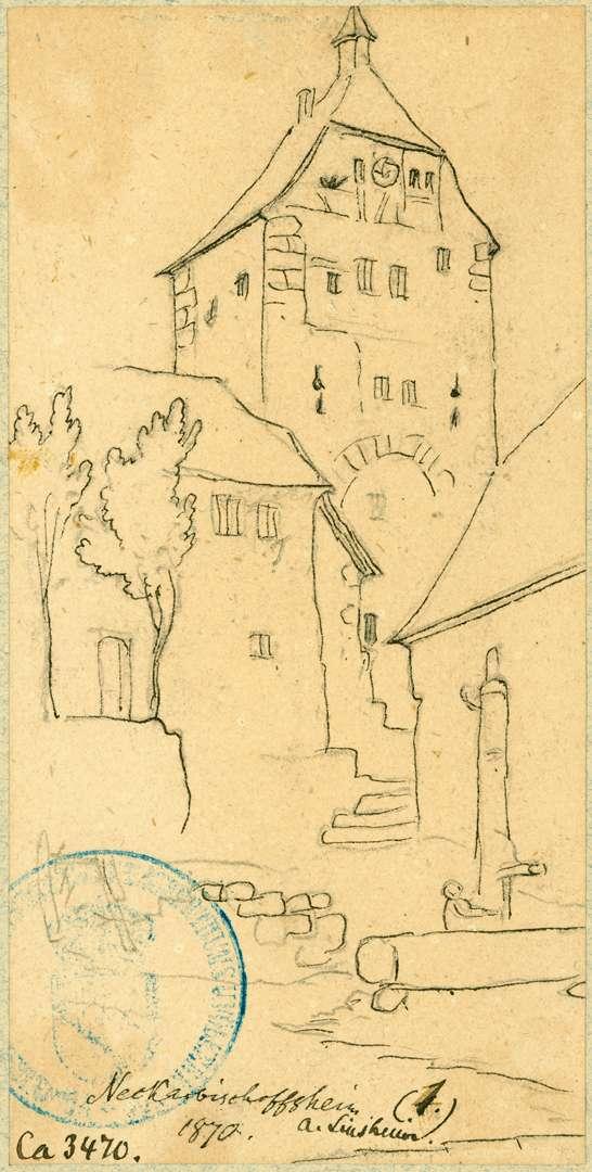Neckarbischofsheim Stadttor mit Häusern und Brunnen, Bild 1
