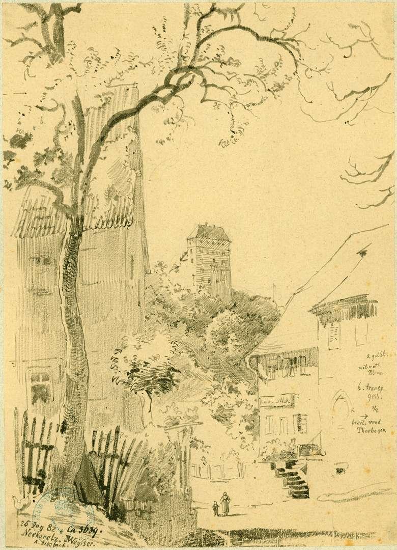 Neckarelz Straßenpartie mit Blick zum Schloss, Bild 1