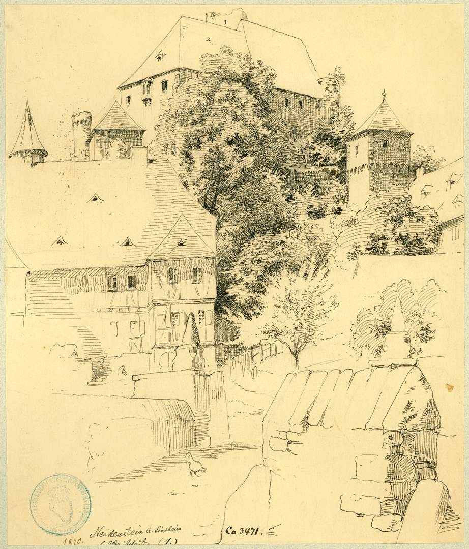 Neidenstein Dorfstraße mit Blick auf Nordseite Burg, Bild 1
