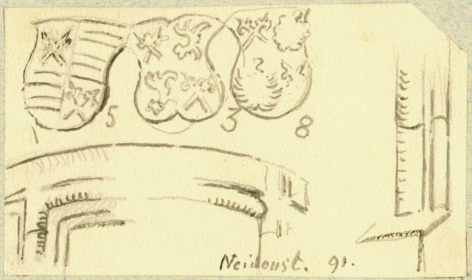 Neidenstein Wappen über Eingang Treppenturm mit der Jahreszahl 1538, Bild 1