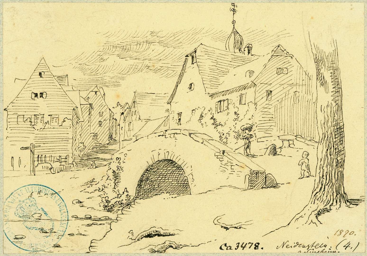 Neidenstein Straßenbild mit Steinbrücke, Bild 1