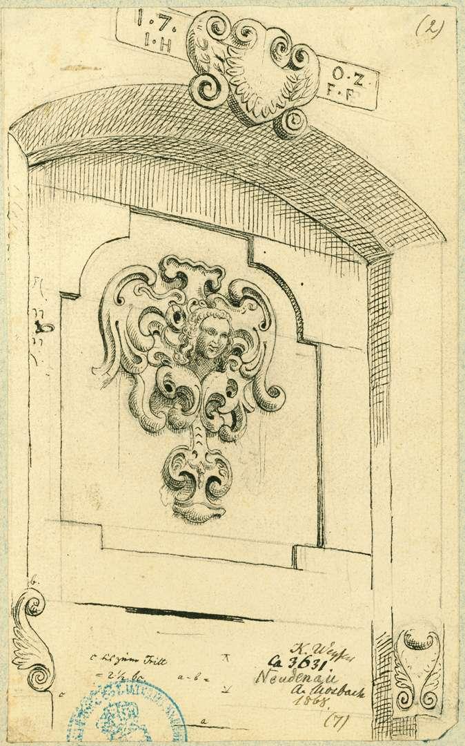 Neudenau Mauernische mit Verzierung im Fond aus dem Jahre 1707, Bild 1