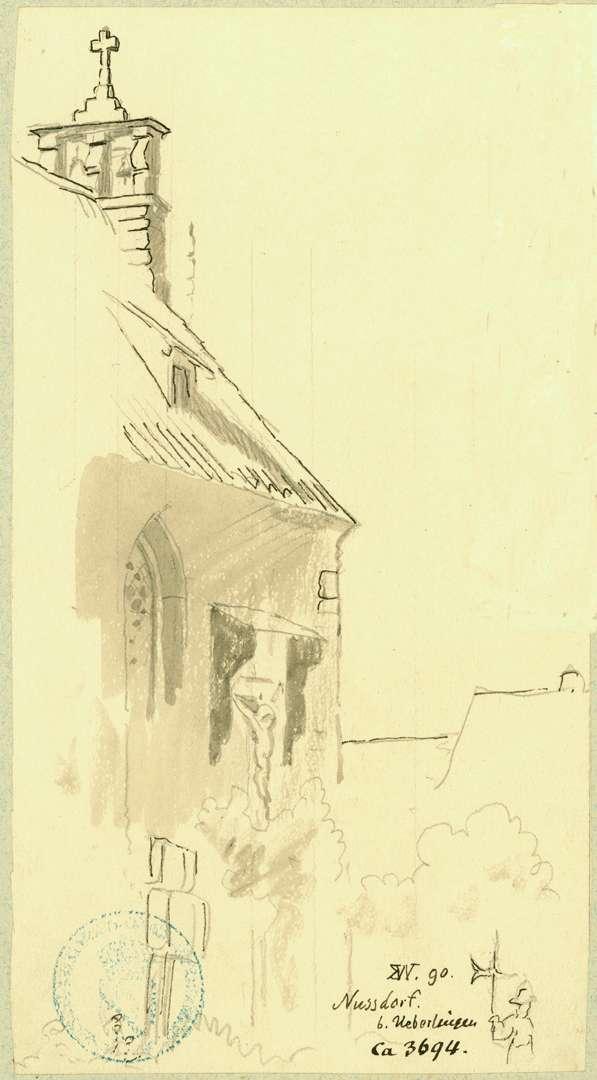 Nußdorf Teilansicht Kapelle mit Glockenstuhl und Kruxifix, Bild 1